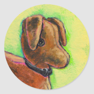 One of a Kind handmade stuffed toy dog painting Round Stickers