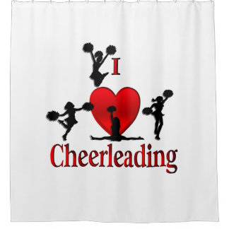 Superb One Of A Kind I Heart Cheer Leading Shower Curtain