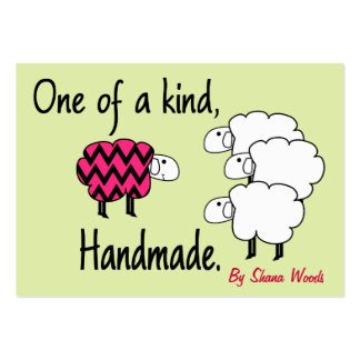 One Of A Kind Pink and Black Sheep Hang Tag Large Business Cards (Pack Of 100)