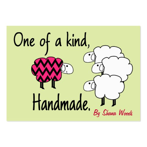 One Of A Kind Pink And Black Sheep Hang Tag Large Business