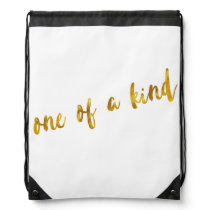 One of a Kind Quote Faux Gold Foil Metallic Design Drawstring Backpack