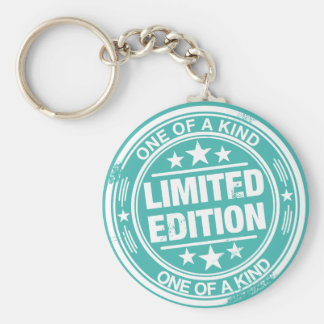 One of a kind -white rubber stamp effect- keychain