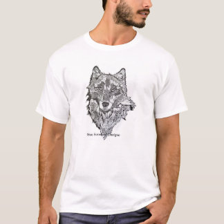 One of a kind Wolf portrait on riner tee