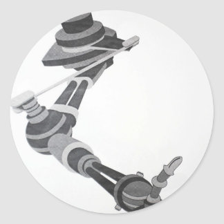 ONE OF FIRST 10 COMPUTER ART PIECES  ROBOTIC ARM CLASSIC ROUND STICKER