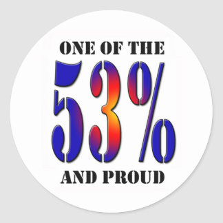 One of  the 53 Percent and Proud Taxpayer Classic Round Sticker
