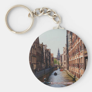 One of the many canals in Amsterdam, Netherlands Key Chains