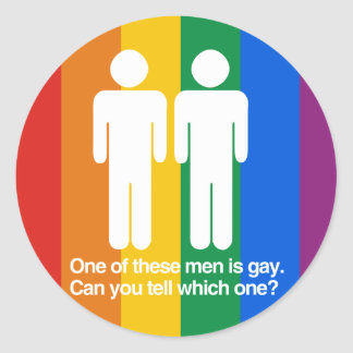 ONE OF THESE MEN IS GAY CAN YOU TELL WHICH ONE STICKER