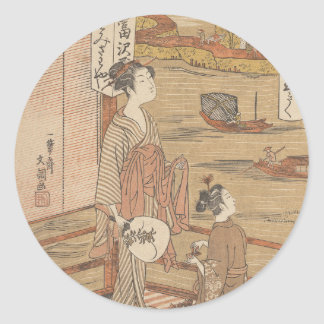 One of Thirty-Six Flowers (Japanese woodblock) Classic Round Sticker