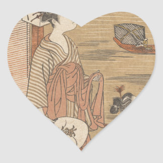 One of Thirty-Six Flowers (Japanese woodblock) Heart Sticker