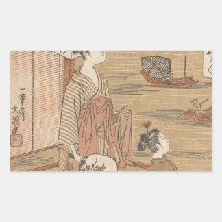 One of Thirty-Six Flowers (Japanese woodblock) Rectangular Sticker
