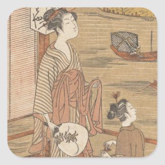 One of Thirty-Six Flowers (Japanese woodblock) Square Sticker