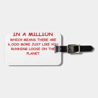 one on a million luggage tag