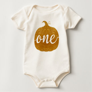 """One""|One Year Old Baby|new baby| Golden pumpkin Baby Bodysuit"