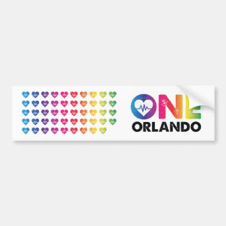 One Orlando One Pulse 49 Hearts Rainbow Bumper Sticker