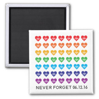 One Orlando One Pulse Rainbow 49 Hearts 2 Inch Square Magnet