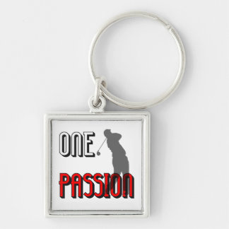 one passion golf Silver-Colored square keychain