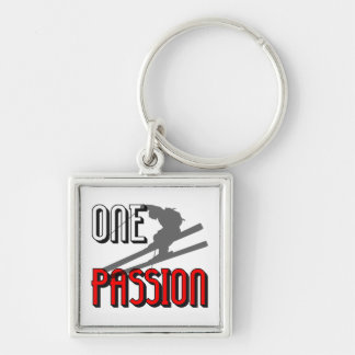 one passion skiing Silver-Colored square keychain