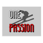 one passion skiing postcard