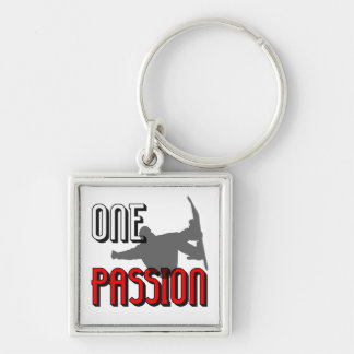 one passion snowboarding Silver-Colored square keychain