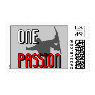 one passion snowboarding stamp