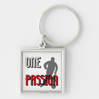 one passion soccer Silver-Colored square keychain