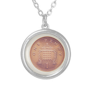 One Penny british coin Silver Plated Necklace