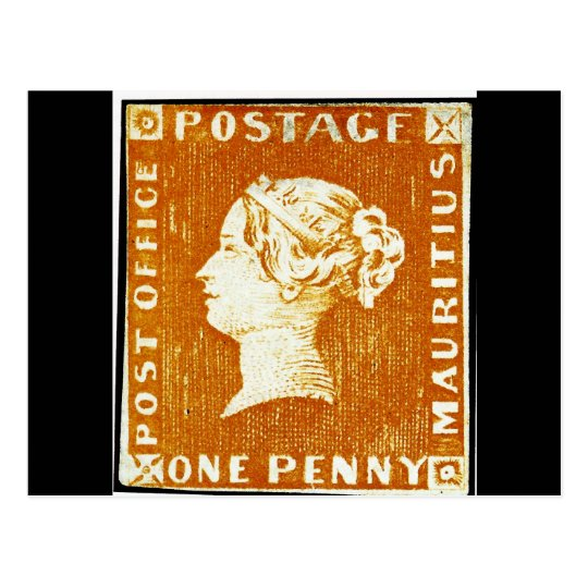 One Penny British Empire Mauritius Postage Stamp Postcard