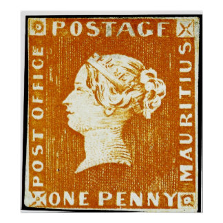 One Penny British Empire Mauritius Postage Stamp Poster
