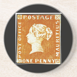 One Penny British Empire Mauritius Postage Stamp Sandstone Coaster