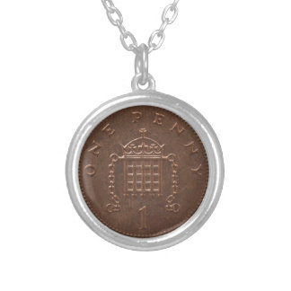 One Penny Coin Isolated Over White Background Silver Plated Necklace
