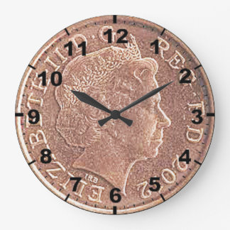 """One Penny Coin (Queen's Head)"" design wall clocks"