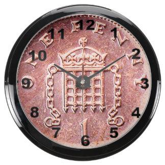 """""""One penny"""" design wall clock Fish Tank Clock"""