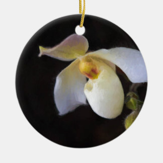 One Perfect Lady Slipper Ceramic Ornament