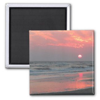 One Perfect Sunset - Oak Island, NC 2 Inch Square Magnet