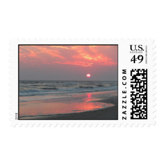 One Perfect Sunset - Oak Island, NC Postage Stamps