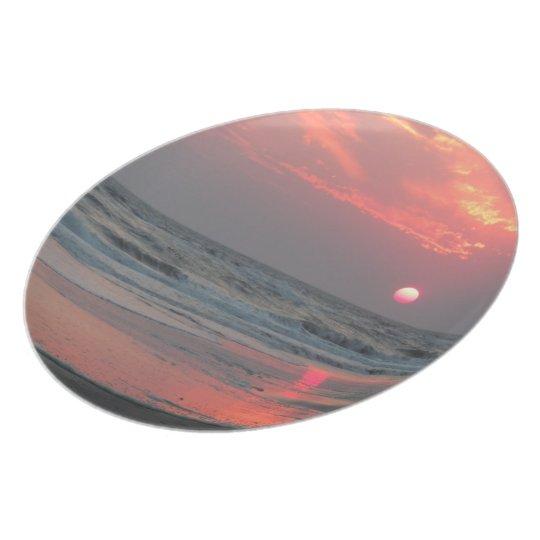 One Perfect Sunset - Oak Island, North Carolina Melamine Plate
