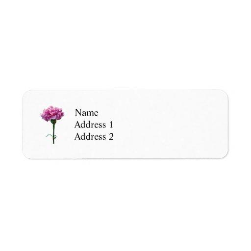 One Pink Carnation Return Address Label