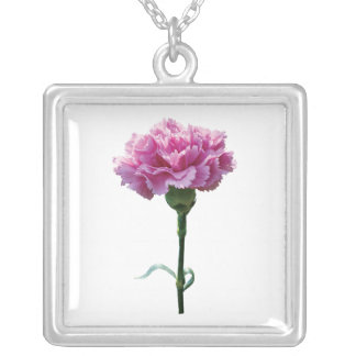 One Pink Carnation Square Pendant Necklace