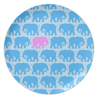 One Pink Elephant in a Herd of Blue Plate