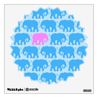 One Pink Elephant in a Herd of Blue Wall Decal