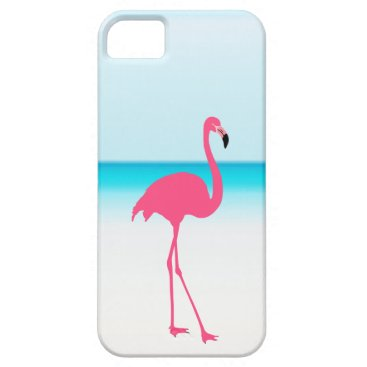 Beach Themed One pink flamingo on the beach iPhone SE/5/5s case