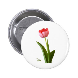 One Pink Spring Tulip Nature Floral Photo Button
