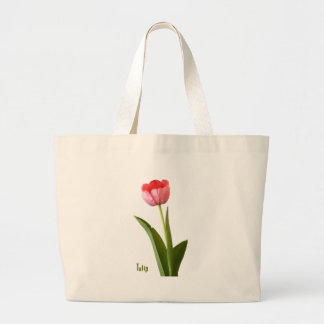 One Pink Spring Tulip Nature Floral Photo Large Tote Bag