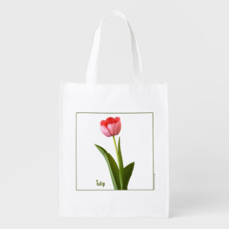 One Pink Spring Tulip Nature Floral Photo Reusable Grocery Bag