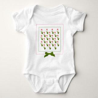 One Pink Tulip - Wallpaper Pattern Baby Bodysuit