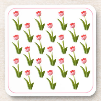 One Pink Tulip - Wallpaper Pattern Drink Coasters
