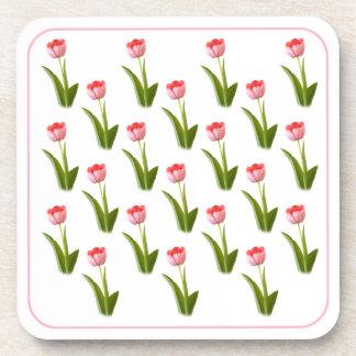 One Pink Tulip - Wallpaper Pattern Drink Coasters