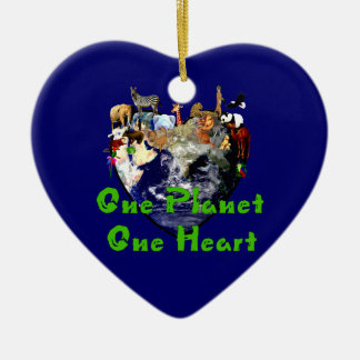 One Planet One Heart Ceramic Ornament