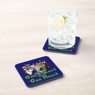 One Planet One Heart Drink Coaster