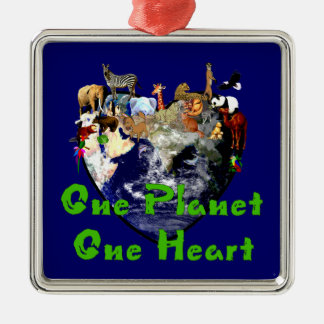 One Planet One Heart Metal Ornament